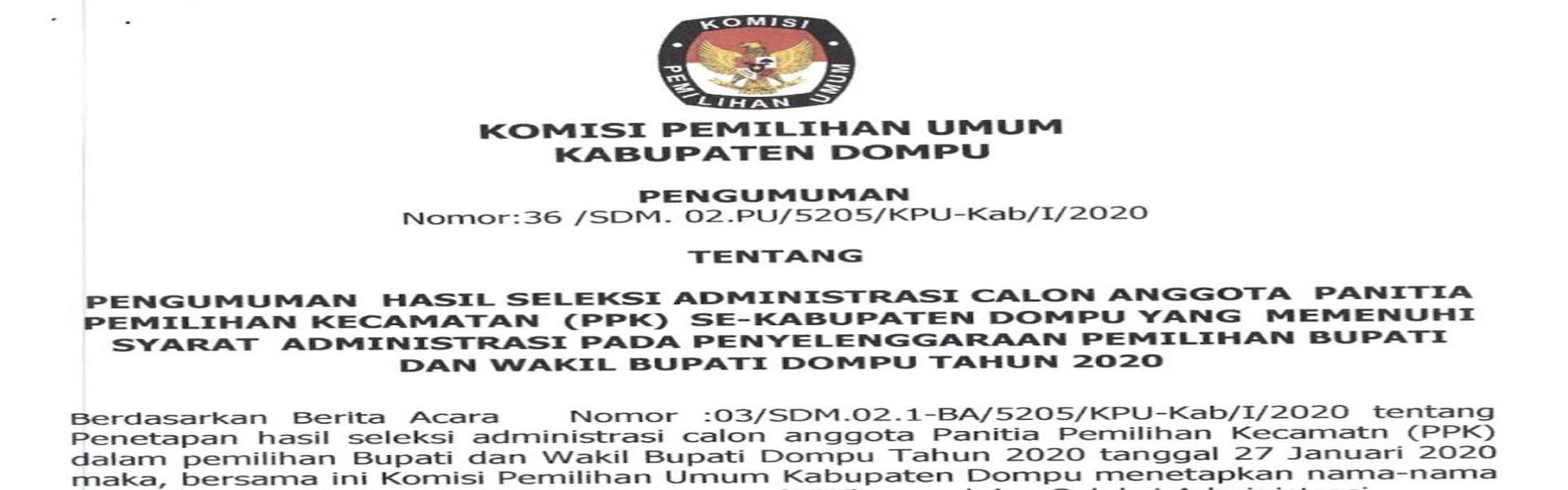 Hasil Seleksi Administrasi Calon Anggota PPK Se-Kabupaten Dompu